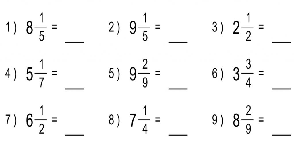 Convert Mixed Numbers To Improper Fractions Worksheets – Mixed Number Fractions Worksheets